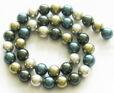 "SOUTH SEA SHELL PEARLS 10mm Round Loose Beads 16"" Strand Teal Green SS3"