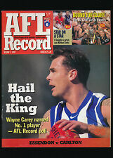 1999 AFL Football Record Essendon Bombers vs Carlton March 25-28  unmarked