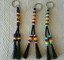 Native American beaded horsehair keychain. Any main color avail.