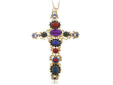 Easter Gold Festive colorful Crystal Rhinestone Holy Cross Pendant Necklace