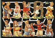 German Victorian Style Embossed Scrap Die Cut - Playful Children EF7035  (SE)