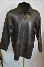 Eddie Bauer Leather Jacket Distressed Brown Mens Size Large Lambskin SOFT