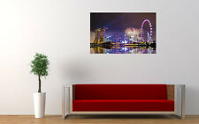"""SINGAPORE NIGHT FIREWORKS ART PRINT POSTER PICTURE WALL 33.1"""" x 20.7"""""""