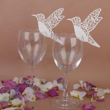 50x Beauty Bird Wine Glass Place Cards Wedding Name Party Table Decor Ivory
