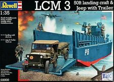 03000 Revell 1/35 LCM 3/50ft Landing Craft & Kit de remolque Jeep Con