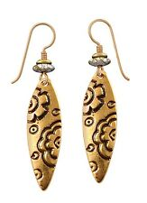 NEW! Laurel Burch EMMA Antiqued Gold Retired Flower Blossom Earrings