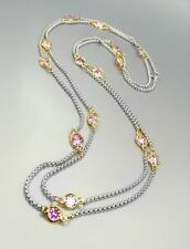 """GORGEOUS Silver Box Cable Chain Pink CZ Crystals 48"""" Extra Long Necklace"""