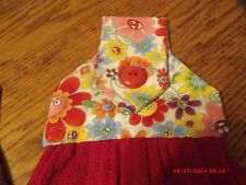 KITCHEN CAMPER HANGING TOWEL RED FLOWERS BUTTON   NEW