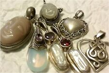 Vintage Balinese Sterling Silver Gemstone Pendants Celtic Buddha Heart Lot