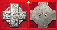 TURNEN ANTIK HISTORISCHES ABZEICHEN SCHWEIZ XV. KREISTURNERTAG SCHINZNACH 1936