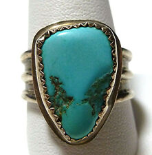"DESIGNER ""JW"" NAVAJO ZUNI STERLING SILVER TURQUOISE MENS RING BAND SIZE 12.25"