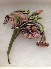 New In Box Jay Strong water Green/pink Enameled Flower W Swarovski Crystal Pin