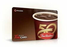 2x TIM HORTON COFFEE CANADA 50TH ANNIVERSARY 2014 french COLLECTIBLE GIFT CARD