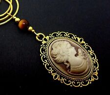 "A   GOLD PLATED & TIGERS EYE BEAD  CAMEO NECKLACE ON 18"" SNAKE CHAIN. NEW."