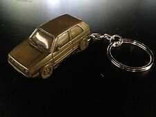 VW Golf GTI MK2 Brass Effect 3D split-ring keyring FULL CAR ref300