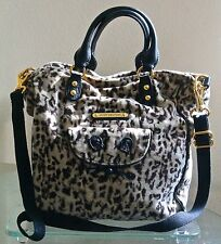 JUICY COUTURE TOTE PURSE BAG ANIMAL PRINT TAUPE BLACK LEATHER NEW CAT FACE