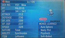 Shiny 6IV EV Trained FAL2010 Timid Mew For Pokemon ORAS X/Y + Free Item