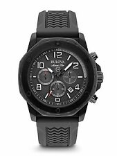 Bulova Men's 98B223 Marine Star Quartz Chronograph Black Rubber Strap Watch