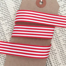 3M Red and White Nautical Stripe Ribbon 16mm - Christmas Craft Wrapping
