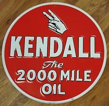 "KENDALL THE 2000 MILE OIL RED & WHITE GAS STATION 23"" METAL ADVERTISING SIGN"