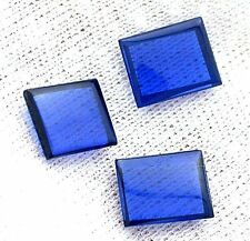 ONE 10mm x 8mm Flat Rectangle Synthetic Blue Spinel Corundum Cab Cabochon Gem