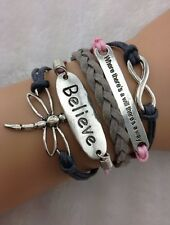 Bracelet libellule rose gris bleu Believe, lien infini et citation