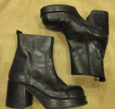 VINTAGE STEVE MADDEN LUCY BLACK LEATHER CHUNKY PLATFORM ANKLE BOOTS 10 RARE