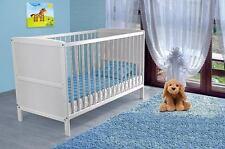 Babybett Kinderbett Gitterbett Juniorbett Weiß umbaubar 140x70 NEU!+ MATRATZE !!
