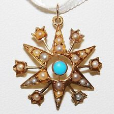 ART NOUVEAU 15CT YELLOW  GOLD TURQUOISE SEED PEARL STAR TULIP PENDANT