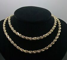 "10K Yellow Gold Men's Rope Chain 24""  5mm Franco, Italian,Cuben"