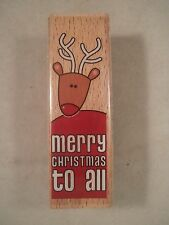 Merry  Christmas to All Wood Mounted Rubber Stamp, Studio G, Reindeer, Rudolph