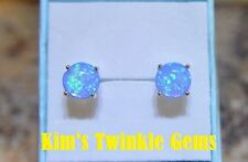 Colourful 925 Silver Plated Tropical Blue Fire Opal 7mm Stud Earrings