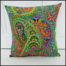 Retro cushion cover psychedelic green floral funky kitsch Kaffe Fassett paisley