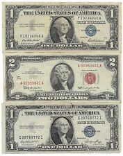 Old Rare US Blue Silver Certificate Red Seal Two Dollar Bill Note Collection Lot