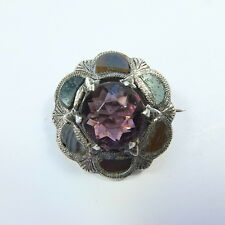 Antique Silver Scottish Agate Amethyst Glass Pebble Brooch