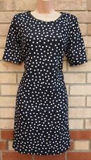 G21 BLACK QUILTED HEART PRINT BAGGY TUBE FAUX LEATHER COLLAR BODYCON DRESS 12 M
