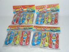 12 VINTAGE UNUSED NON-FRICTION FREE WHEELING TIN RACE CARS IN PACKAGES