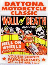 Vintage Motorcycle Racing Poster Walll of Death Volusia GA Antique Ad 1950s