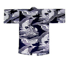 "JAPANESE ""KOI"" CARP FISH PATTERN HAPPI COAT YUKATA KIMONO ROBE MADE IN JAPAN"