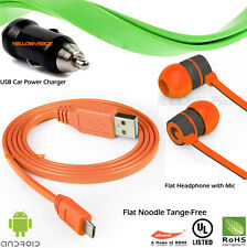For Samsung HTC LG Micro USB Data Cable w/ Earphone Headset Headphone Earbud Mic