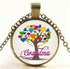 Vintage Grandma Tree of Life Hearts Glass Cabochon Bronze Chain Necklace