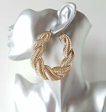 Gorgeous HUGE gold tone chunky twisted creole hoop earrings * Improved quality *