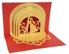 3D PopUp Couple Palace Anniversary Greeting Card Handmade Best Gift Husband Wife