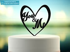 """You & Me"" Heart - Black - Wedding Cake Topper - Made by OriginalCakeToppers"