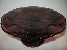 Amethyst purple Glass cake serving stand plate platter pedestal thistle dessert