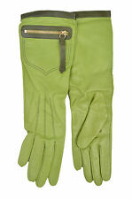 [83 20] COACH NWT WOMEN 82816 GREEN SILK & LEATHER LONG POCKET GLOVES SIZE: 6.5