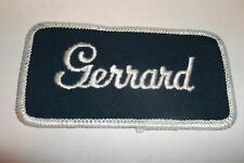 GERRARD USED EMBROIDERED  SEW ON NAME PATCH TAG WHITE ON DARK BLUE