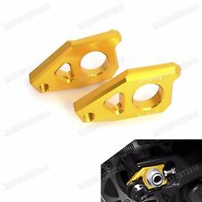 Gold Rear Axle Spindle Chain Adjuster Blocks For Yamaha YZF-R1 2005-2013 2014 15