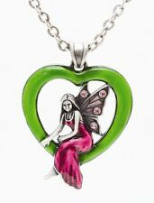 GREEN HEART SHAPE FAIRY PENDANT NECKLACE JEWELRY. BEAUTIFUL. LOVELY
