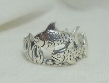 Sterling Silver Fish Koi Carp Pond Ocean Ring   SZ 5      s50